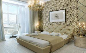 dormitorio señorial con papel pintado alta calidad en Donostia